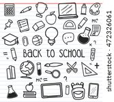 set of back to school doodle... | Shutterstock .eps vector #472326061