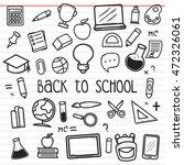 set of back to school doodle... | Shutterstock .eps vector #472326061