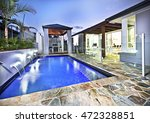 modern swimming pool side with... | Shutterstock . vector #472328851
