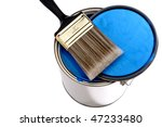 paint brush and lid on top of a ...