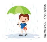 little boy with umbrella in... | Shutterstock .eps vector #472342105