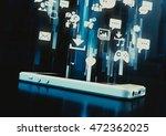 futuristic smartphone ui 3d...