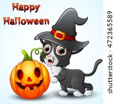 cat cartoon with a witch hat... | Shutterstock . vector #472365589