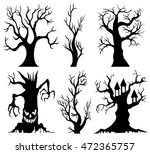 set of spooky halloween tree... | Shutterstock .eps vector #472365757