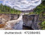 View to Sambaa Deh Falls on Trout River. Northwest Territories, Canada