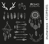 set of hand drawn boho elements ... | Shutterstock .eps vector #472395451