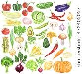 watercolor vegetables set.... | Shutterstock . vector #472405057