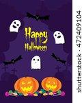 happy halloween postcard   Shutterstock .eps vector #472409104