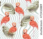 pink flamingos  exotic birds ... | Shutterstock .eps vector #472410889
