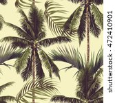 palm trees  tropical leaves ... | Shutterstock .eps vector #472410901