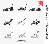 vector set of lawnmower | Shutterstock .eps vector #472419025