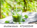 green smoothie with fresh... | Shutterstock . vector #472435549