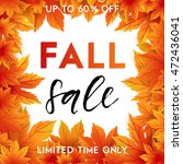autumn sale flyer template with ... | Shutterstock .eps vector #472436041