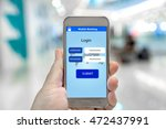 mobile smart phone with mobile... | Shutterstock . vector #472437991