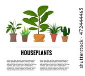 flat style house plants and... | Shutterstock .eps vector #472444465