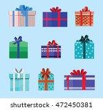 gift box birthday set present... | Shutterstock .eps vector #472450381