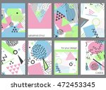 vector set of eight cards in... | Shutterstock .eps vector #472453345