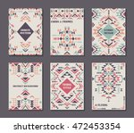 vector set of six cards. ethnic ... | Shutterstock .eps vector #472453354