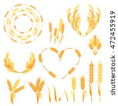 wheat ears or rice icons set....   Shutterstock .eps vector #472455919