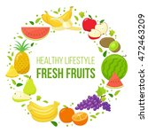set of colorful fruits in...   Shutterstock . vector #472463209