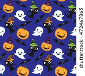 seamless halloween vector... | Shutterstock .eps vector #472467865