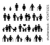 family and people vector icons. ... | Shutterstock .eps vector #472471321