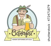 bavarian man with mustache and... | Shutterstock .eps vector #472471879