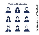Stock vector people profile silhouettes icons set vector illustration 472487611