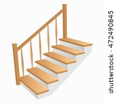 Staircase 3d Icon With Wooden...