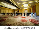 huge hall interior with red... | Shutterstock . vector #472492531