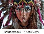 a model wearing native american ... | Shutterstock . vector #472519291