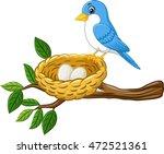 bird with egg in the nest... | Shutterstock .eps vector #472521361