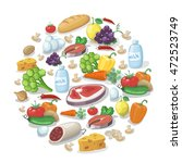 common everyday food products... | Shutterstock . vector #472523749