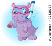 cute hippo diving | Shutterstock . vector #472528339