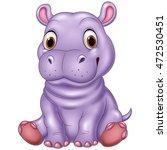 cartoon funny baby hippo... | Shutterstock . vector #472530451