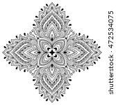 henna tattoo mandala in mehndi... | Shutterstock .eps vector #472534075
