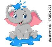 cartoon baby elephant spraying... | Shutterstock .eps vector #472536025