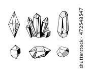 hand drawn crystals set  black... | Shutterstock .eps vector #472548547
