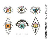 hand drawn mystic eyes  vector... | Shutterstock .eps vector #472548619