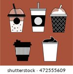 set of cups of cafe   lemonade  ... | Shutterstock .eps vector #472555609