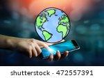 businesswoman holding hand... | Shutterstock . vector #472557391
