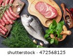 sausages  fish  meat and... | Shutterstock . vector #472568125