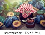 homemade plum jam and fruits on ... | Shutterstock . vector #472571941