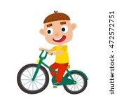 cartoon boy riding a bike... | Shutterstock .eps vector #472572751