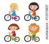 set of cartoon girls riding a... | Shutterstock .eps vector #472573837