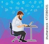 business concept   man sitting... | Shutterstock .eps vector #472580431