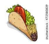 illustration of mexican taco... | Shutterstock . vector #472580839