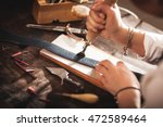 leather handbag craftsman at... | Shutterstock . vector #472589464
