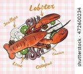 rich plate full of various... | Shutterstock .eps vector #472600234