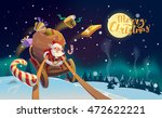 christmas card. santa with the... | Shutterstock .eps vector #472622221